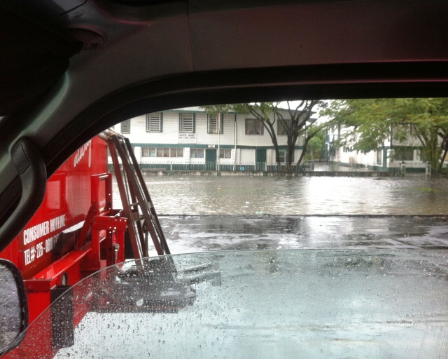 Heavy rains flooded much of the town