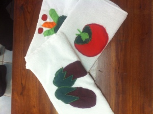 Hand-stitched wash cloths from Garment class